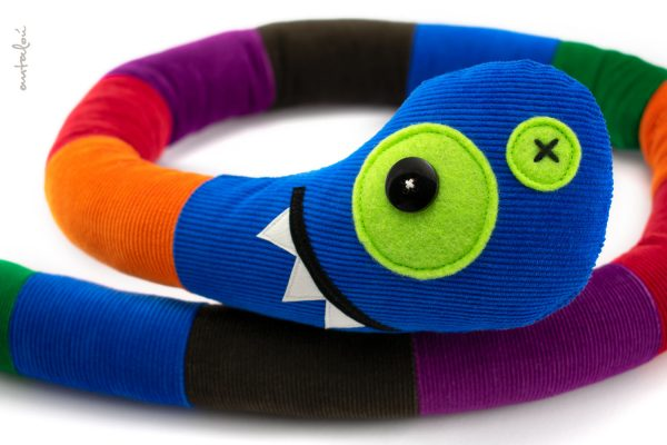 colorful snake blue, soft toy