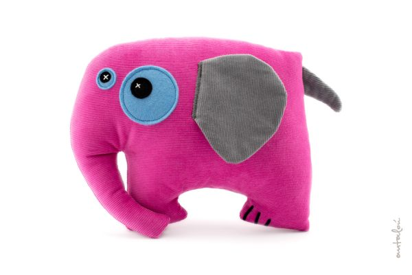 pink elephant - handmade soft toy for babies and kids
