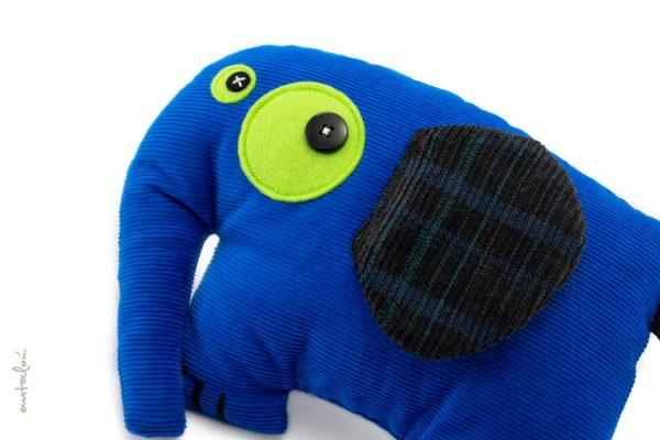 blue elephant - handmade soft toy for babies and kids
